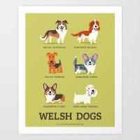 WELSH DOGS Art Print