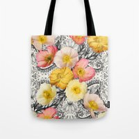 Collage of Poppies and Pattern Tote Bag