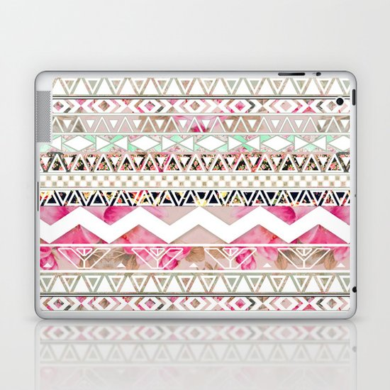 Aztec Spring Time!   Girly Pink White Floral Abstract Aztec Pattern Laptop & iPad Skin