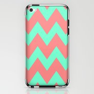 Chevron Coral Red Mint G… iPhone & iPod Skin