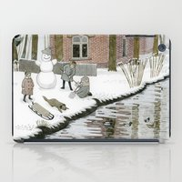 Children Building A Snowman iPad Case