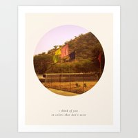 i think of you in colors that don't exist Art Print