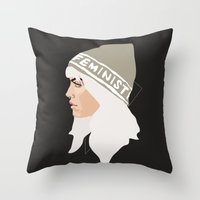 Feminist (Silver) Throw Pillow