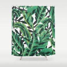 Tropical Glam Banana Leaf Print Shower Curtain