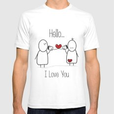 Hello I Love You Mens Fitted Tee White SMALL