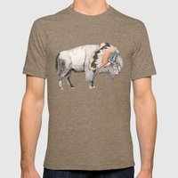 White Bison Mens Fitted Tee Tri-Coffee SMALL