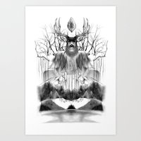 DEER KALEIDOSCOPE Art Print