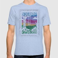 Sunset Swing Papercut Mens Fitted Tee Athletic Blue SMALL