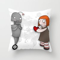 Robot Love Throw Pillow