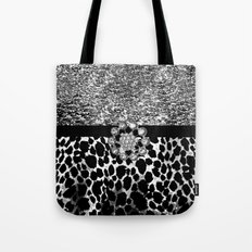 Animal Print Leopard Glam Silver and Black Diamond Tote Bag