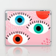 Noob - eyes memphis retro throwback 1980s 80s style neon art print pop art retro vintage minimal Laptop & iPad Skin