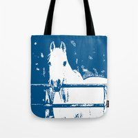 White Horse - Navy Blue Tote Bag