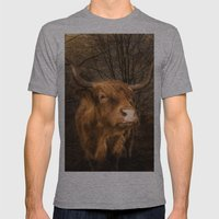 Highland Toffee Coo Mens Fitted Tee Athletic Grey SMALL