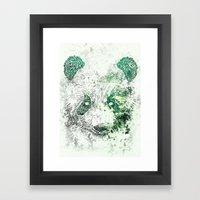 Green Panda Bear Framed Art Print