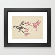 Framed Art Print featuring Blossom Bird  by Terry Fan