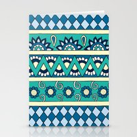 Mixed Stripes (Blue & Cr… Stationery Cards