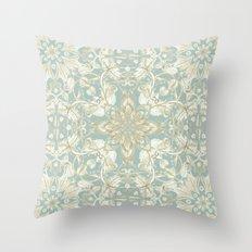Soft Sage & Cream hand drawn floral pattern Throw Pillow