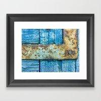 Rotten blue shutter detail Framed Art Print