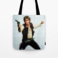 Han With Gun Pixels Text… Tote Bag