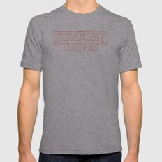 Stranger Things Mens Fitted Tee Athletic Grey SMALL