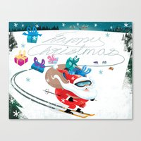 Santa Skiing 1 Canvas Print