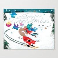 Santa Skiing 1 Canvas Print