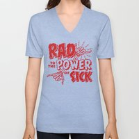 Rad to the Power of Sick - Red Print Unisex V-Neck