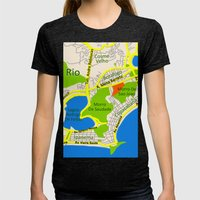 RIO map design - Brasil Womens Fitted Tee Tri-Black SMALL