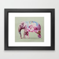 Cherry blossom Elephant Framed Art Print