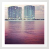 Hotels on the water Art Print