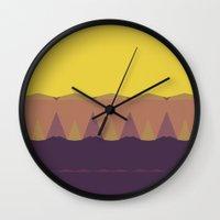 Geometric Sunset Print Wall Clock