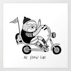 Sloth riding a bike Art Print