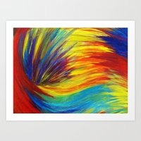 RAINBOW EXPLOSION - Vibrant Smile Happy Colorful Red Bright Blue Sunshine Yellow Abstract Painting  Art Print