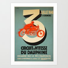 Vintage Poster Bike Raci… Art Print