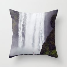 Man Vs. Nature - Skógafoss, Iceland Throw Pillow