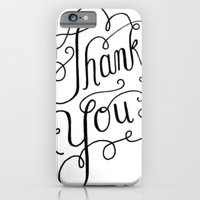 iPhone & iPod Case featuring Thank you Hand Lettered Calligraphy by JMore
