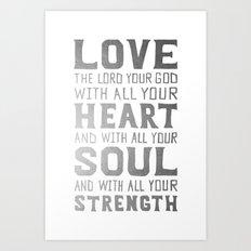 (White/Silver) Heart Soul Strength Art Print