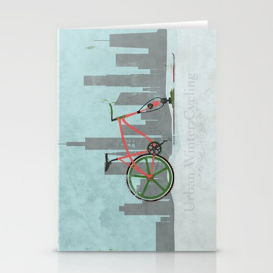 Urban Winter Cycling Stationery Card