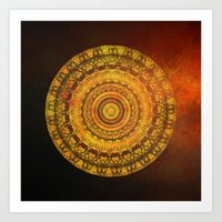 Golden Sun Mandala 2 Art Print