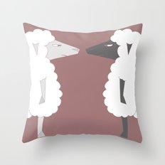 White Sheep meets Black Sheep Throw Pillow