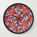 Coral Summer - a hand drawn floral pattern Wall Clock