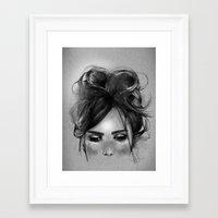 Sweet freckles girl face Framed Art Print