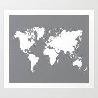 gray map Art Print