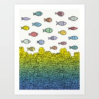 Underwater village II Art Print