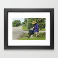 Eleutheran woman reading the Bible on the side of a street Framed Art Print