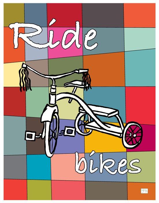 Ride Bikes on Retro Mid Century Palette Background Art Print