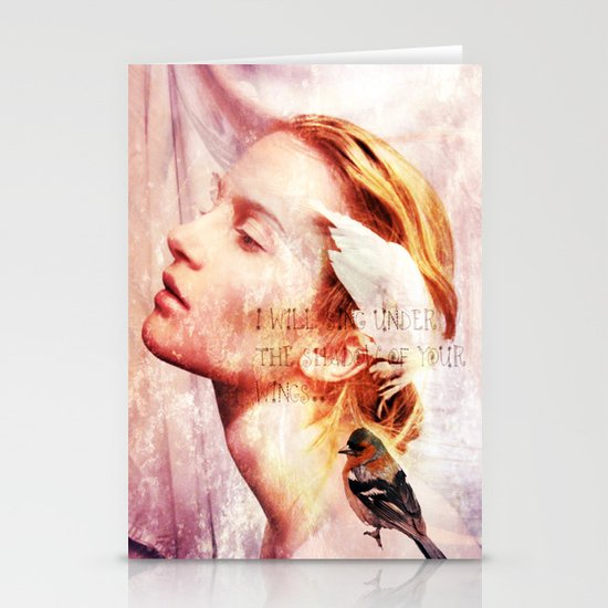 I will sing under the shadow of Your wings Stationery Card