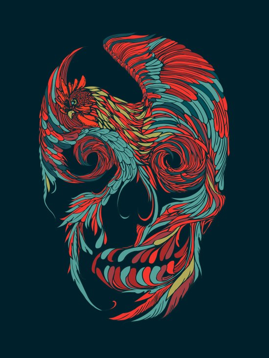 Rooster Skull  Canvas Print