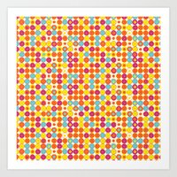 Funny Polkas-Yellow and orange Art Print