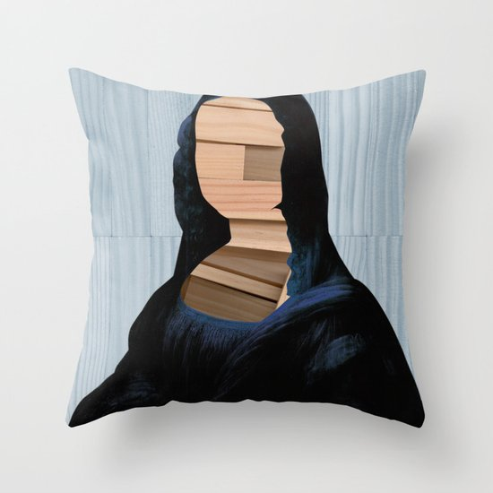 Mona Lisa - blue shining WoodCut Collage Throw Pillow